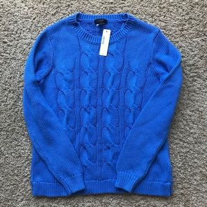 Blue Cable Crewneck Pullover Sweater